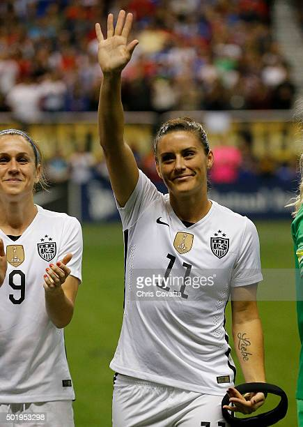 Ali Krieger of the United States is introduced before playing Trinidad Tobago in an international friendly match at the Alamodome on December 10 2015...
