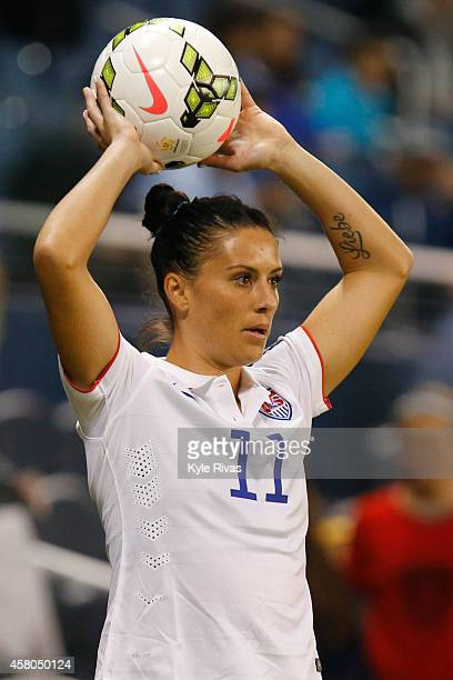 Ali Krieger of United States puts the ball in play against the Trinidad Tobago in the first half of the CONCACAF Women's Championship USA 2014 on...