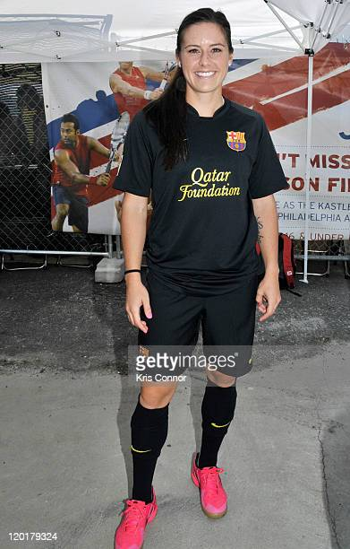 Ali Krieger poses for a photo during the 2011 Celebrity Soccer Challenge at Kastles Stadium at the Wharf on July 31 2011 in Washington DC