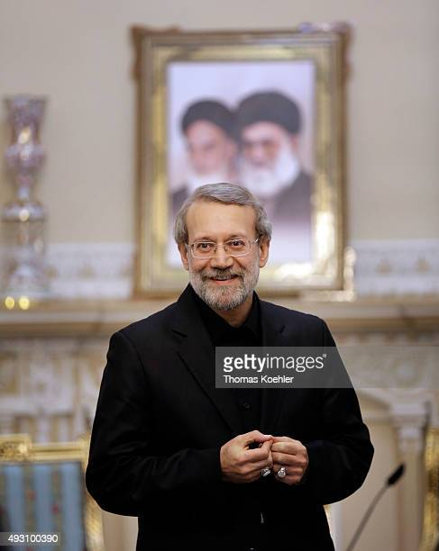 Ali Larijani current chairman of the Parliament of Iran during a meeting with german foreign minister Steinmeier on October 17 2015 in Tehran Iran