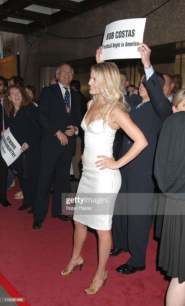 Ali Larter and Bob Costas behind her during NBC 20062007 Primetime Upfront at Radio City Music Hall in New York City New York United States