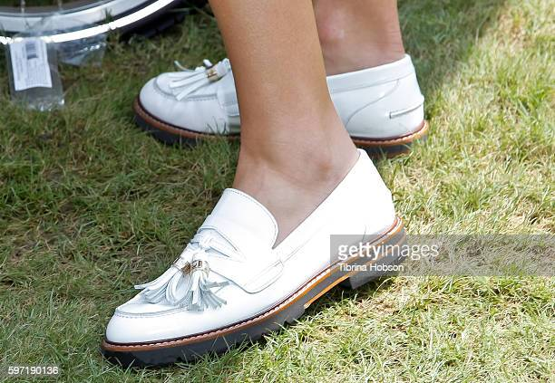 Ali Larter shoe detail attends the a2 Milk's Hello Bubbles Goodbye Troubles Event at The Americana at Brand on August 27 2016 in Glendale California