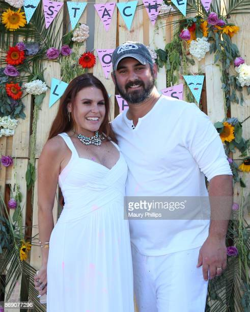 Ali Levine and Justin Jacaruso at Ali Levine and Jacaruso baby gender reveal celebration on October 22 2017 in Los Angeles California