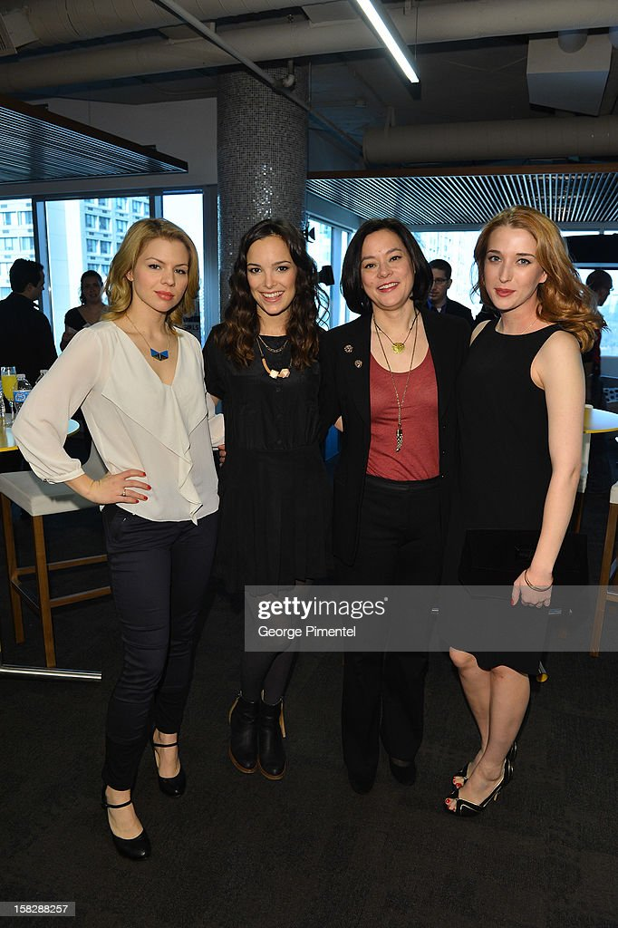 Ali Liebert, Jodi Balfour, Meg Tilly and Charlotte Hegeleattends the Shaw Media Press Conference held at the Shaw Media Building on December 12, 2012 in Toronto, Canada.