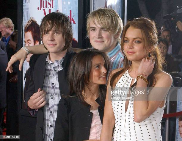 Ali Lohan Lindsay Lohan and McFly during 'Just My Luck' Los Angeles Premiere Arrivals at National Theatre in Westwood California United States