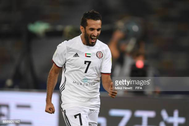 Ali Mabkhout of AlJazira celebrates scoring his sides first goal during the FIFA Club World Cup match between Al Jazira and Urawa Red Diamonds at...