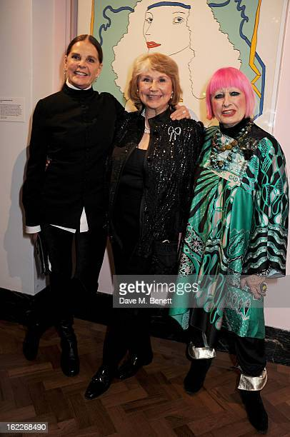 Ali MacGraw Barbara Nessim and Zandra Rhodes attend a private view of American artist and designer Barbara Nessim's exhibition 'An Artful Life' at...