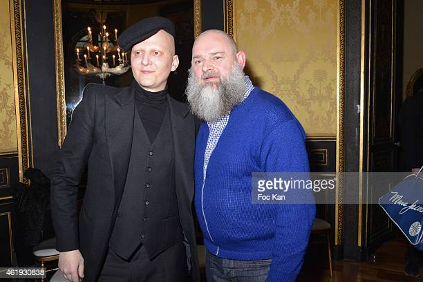 Ali Mahdavi and Walter Van Beirendonck attend the Walter Van Beirendonck Menswear Fall/Winter 20152016 show as part of Paris Fashion Week on January...
