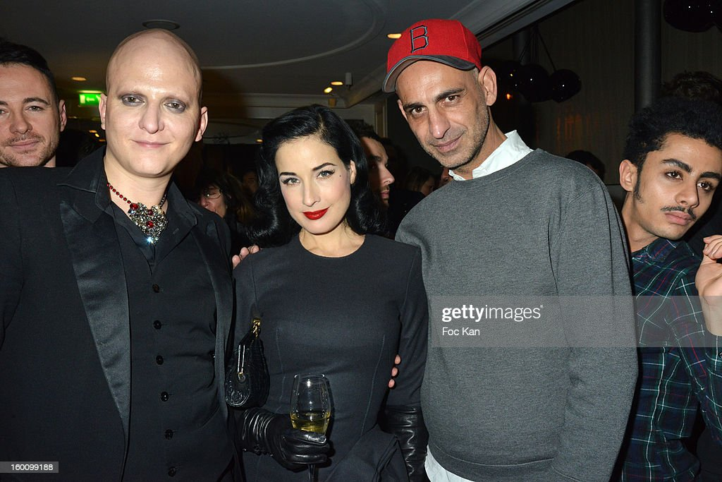 Ali Mahdavi, Dita Von Teese and Tanel attend the 'Body Double' Ali Mahdavi Exhibition Preview Cocktail At Hotel W on January 25, 2013 in Paris, France.