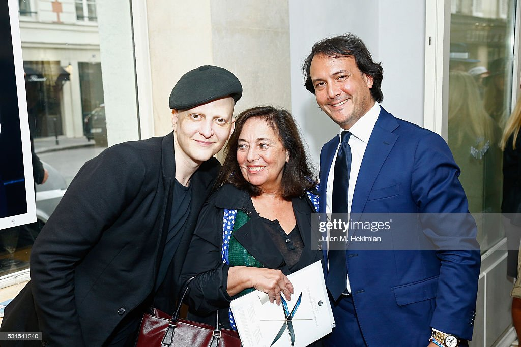 <a gi-track='captionPersonalityLinkClicked' href=/galleries/search?phrase=Ali+Mahdavi&family=editorial&specificpeople=4352644 ng-click='$event.stopPropagation()'>Ali Mahdavi</a>, Monique Kouznetzoff and David Swaelens Kane attend the David Bowie Unseen By Markus Klinko Exhibition Opening at Artcube Galery on May 26, 2016 in Paris, France.