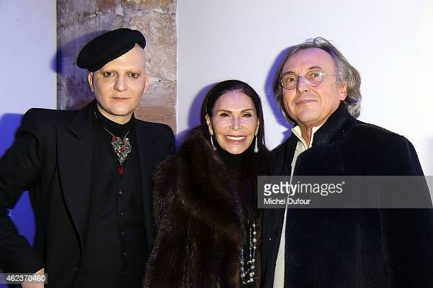 Ali Mahdavi Mouna Ayoub and Pierre Passebon attend the Launch Elie Top 'Haute Joaillerie Fantaisie' Collection on January 27 2015 in Paris France
