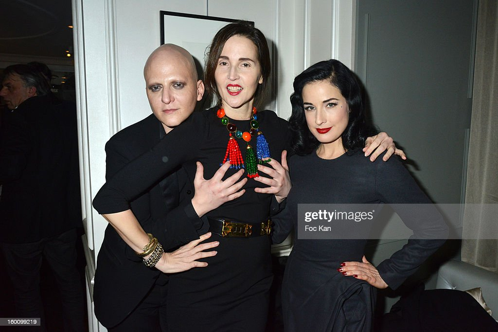 Ali Mahdavi, Suzanne Von Aichinger and <a gi-track='captionPersonalityLinkClicked' href=/galleries/search?phrase=Dita+Von+Teese&family=editorial&specificpeople=210578 ng-click='$event.stopPropagation()'>Dita Von Teese</a> attend the 'Body Double' Ali Mahdavi Exhibition Preview Cocktail At Hotel W on January 25, 2013 in Paris, France.