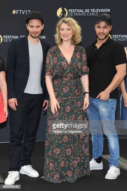 Ali Marhyar Cecile Bois and Raphael Langlet from 'Candice Renoir' TV Show pose for a Photocall during the 57th Monte Carlo TV Festival Day Two on...