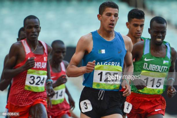 Ali Messaoudi of Algeria leads Men's 3000m Steeplechase final during an athletic event at Baku 2017 4th Islamic Solidarity Games at Baku Olympic...