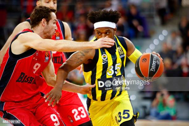 Ali Muhammed #35 of Fenerbahce Dogus Istanbul competes with during the 2017/2018 Turkish Airlines EuroLeague Regular Season game between Baskonia...