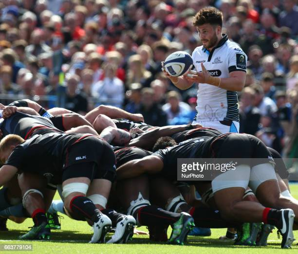 Ali Price of Glasgow Warriors during the European Rugby Champions Cup Quarter Final match between Saracens and Glasgow Warriors at the Allianz Park...