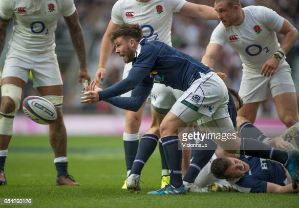 Ali Price of Scotland during the RBS Six Nations match between England and Scotland at Twickenham Stadium on March 11 2017 in London England