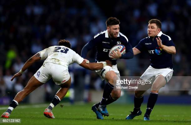 Ali Price of Scotland escapes a challenge from Anthony Watson of England during the RBS Six Nations match between England and Scotland at Twickenham...