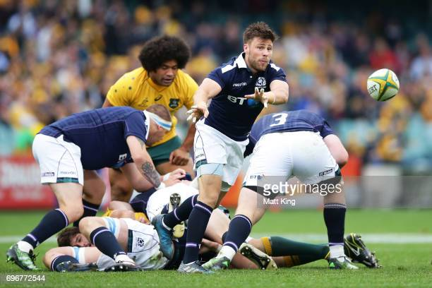 Ali Price of Scotland passes during the International Test match between the Australian Wallabies and Scotland at Allianz Stadium on June 17 2017 in...