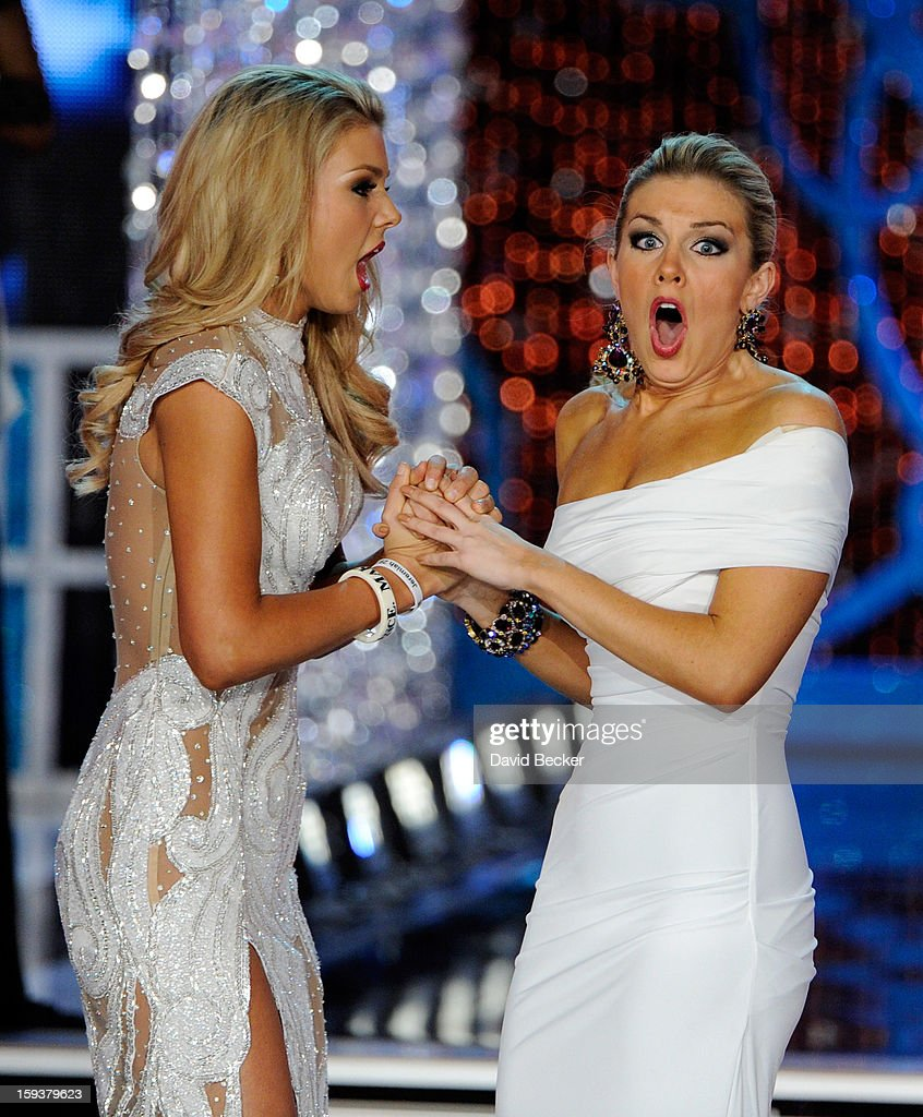 Ali Rogers (L), Miss South Carolina, and Mallory Hytes Hagan, Miss New York, react after the announcement of the new Miss America during the 2013 Miss America Pageant at PH Live at Planet Hollywood Resort & Casino on January 12, 2013 in Las Vegas, Nevada.