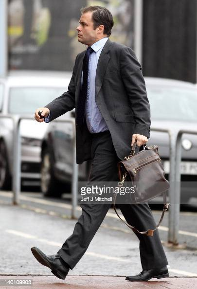 Ali Russell former Chief operating officer of Rangers arrives at Ibrox Stadium on February 28 2012 in Glasgow Scotland Staff and players at the club...