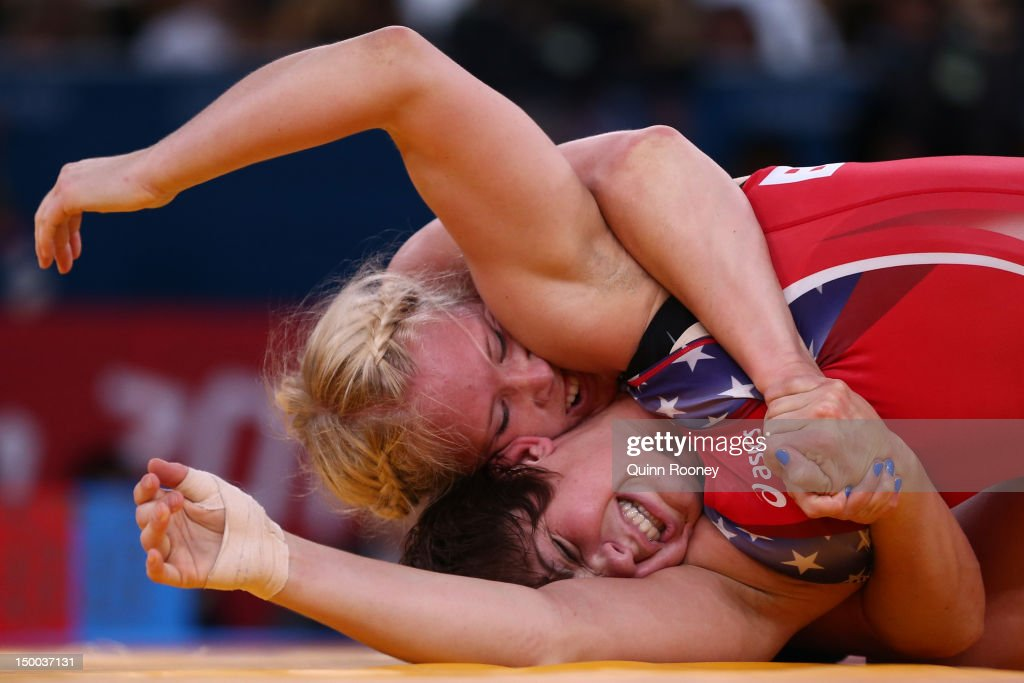 Ali Sue Bernard of the United States (red) and Anna Jenny Fransson of Sweden compete in the Women's Freestyle 72 kg Wrestling on Day 13 of the London 2012 Olympic Games at ExCeL on August 9, 2012 in London, England.