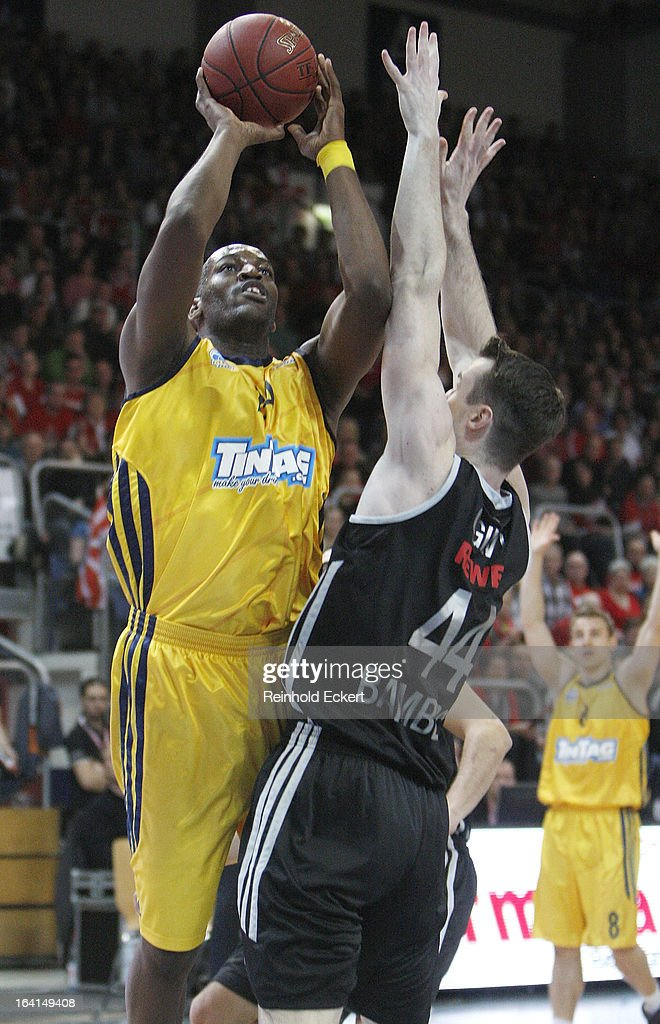 Ali Traore, #24 of Alba Berlin competes with Andrew James Ogilvy, #44 of Brose Baskets Bamberg during the 2012-2013 Turkish Airlines Euroleague Top 16 Date 12 between Brose Baskets Bamberg v Alba Berlin at Stechert Arena on March 20, 2013 in Bamberg, Germany.