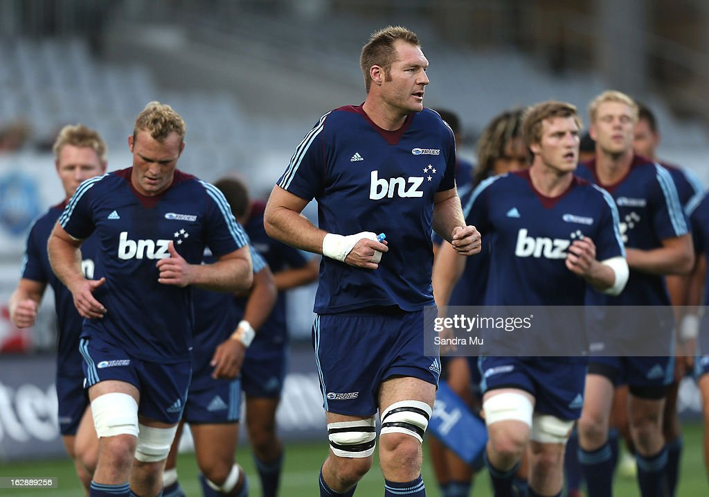 Ali Williams of the Blues leads the team off the field after warming up before the round 3 Super Rugby match between the Blues and the Crusaders at Eden Park on March 1, 2013 in Auckland, New Zealand.