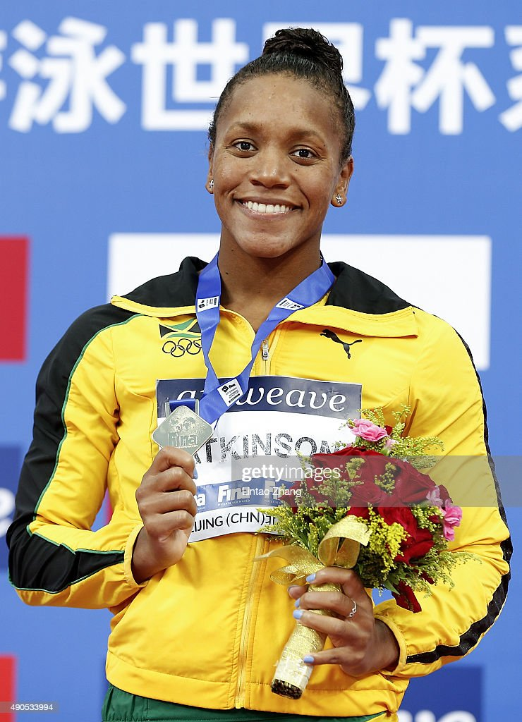 <a gi-track='captionPersonalityLinkClicked' href=/galleries/search?phrase=Alia+Atkinson&family=editorial&specificpeople=881789 ng-click='$event.stopPropagation()'>Alia Atkinson</a> of Jamaica celebrates winning the Women's 100m Breaststroke Final at the National Aquatics Centre during day one of 2015 FINA World Cup Beijing on September 29, 2015 in Beijing, China.