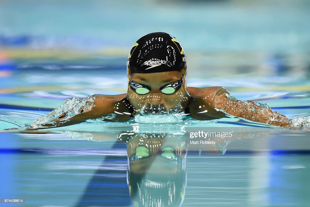 Alia Atkinson of Jamaica competes in the Women's 100m Breaststroke Final during day two of the FINA Swimming World Cup at Tokyo Tatsumi International Swimming Center on November 15, 2017 in Tokyo, Japan.