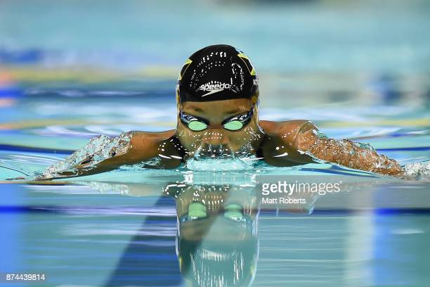 Alia Atkinson of Jamaica competes in the Women's 100m Breaststroke Final during day two of the FINA Swimming World Cup at Tokyo Tatsumi International...