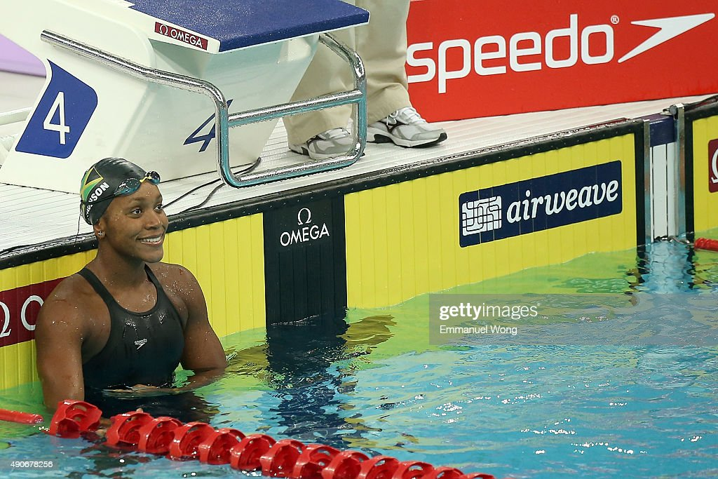 <a gi-track='captionPersonalityLinkClicked' href=/galleries/search?phrase=Alia+Atkinson&family=editorial&specificpeople=881789 ng-click='$event.stopPropagation()'>Alia Atkinson</a> of Jamaica looks on after the Women's 50m breaststroke final on day two of the FINA swimming world cup 2015 on September 30, 2015 in Beijing, China.