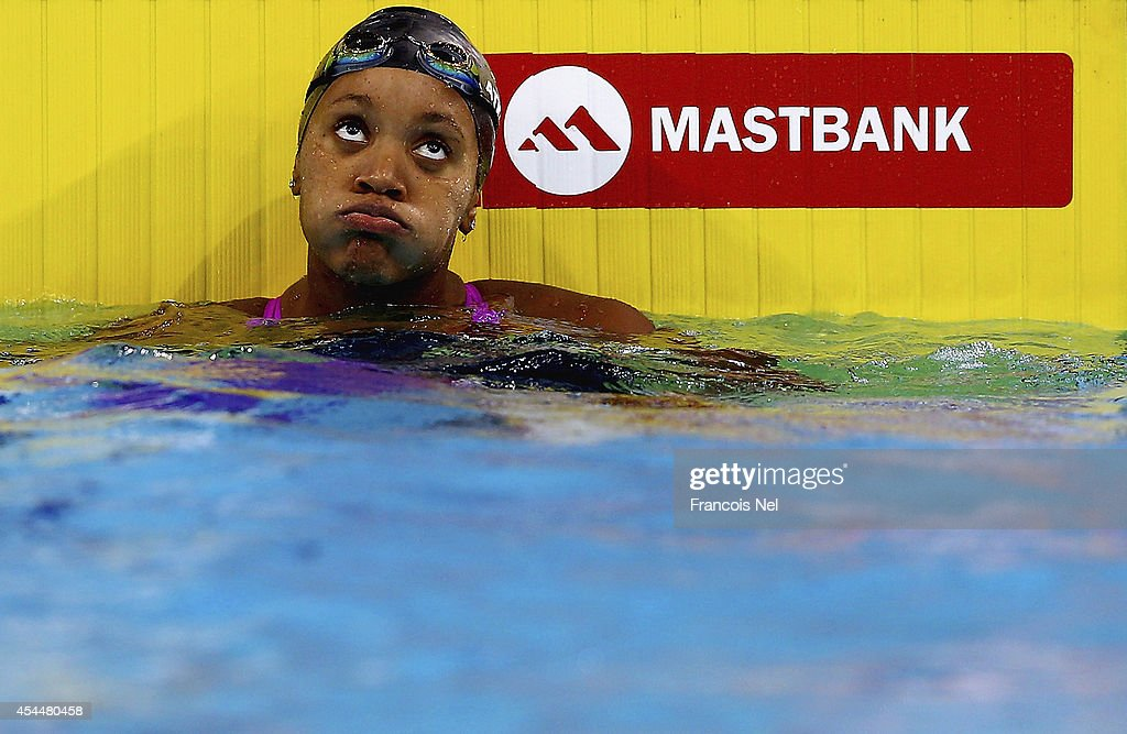 <a gi-track='captionPersonalityLinkClicked' href=/galleries/search?phrase=Alia+Atkinson&family=editorial&specificpeople=881789 ng-click='$event.stopPropagation()'>Alia Atkinson</a> of Jamaica reacts after winning the silver medal in the Women's 100m Individual Medley final during day two of the FINA Swimming World Cup Dubai 2014 at Hamdan Sports Complex on September 1, 2014 in Dubai, United Arab Emirates.