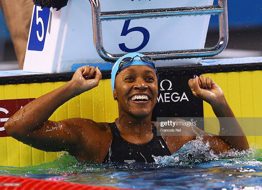<a gi-track='captionPersonalityLinkClicked' href=/galleries/search?phrase=Alia+Atkinson&family=editorial&specificpeople=881789 ng-click='$event.stopPropagation()'>Alia Atkinson</a> of Jamaica reacts after winning Women's 100m Breaststroke Final during day four of the 12th FINA World Swimming Championships (25m) at the Hamad Aquatic Centre on December 6, 2014 in Doha, Qatar.