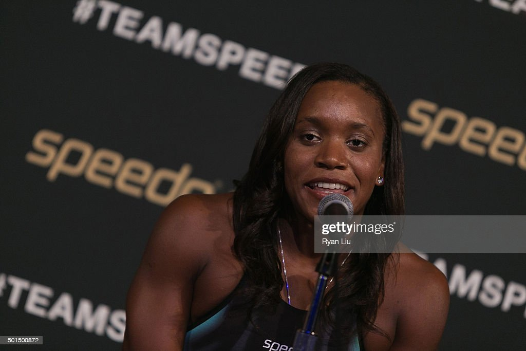 <a gi-track='captionPersonalityLinkClicked' href=/galleries/search?phrase=Alia+Atkinson&family=editorial&specificpeople=881789 ng-click='$event.stopPropagation()'>Alia Atkinson</a> speaks at the Speedo Rio 2016 Olympic Games Racing Suit Unveiling at SIR Stage37 on December 15, 2015 in New York City.
