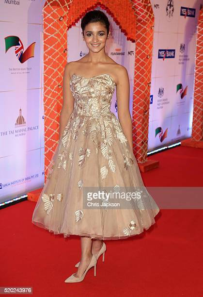 Alia Bhatt arrives for a Bollywood Inspired Charity Gala at the Taj Mahal Palace Hotel during the royal visit to India and Bhutan on April 10 2016 in...