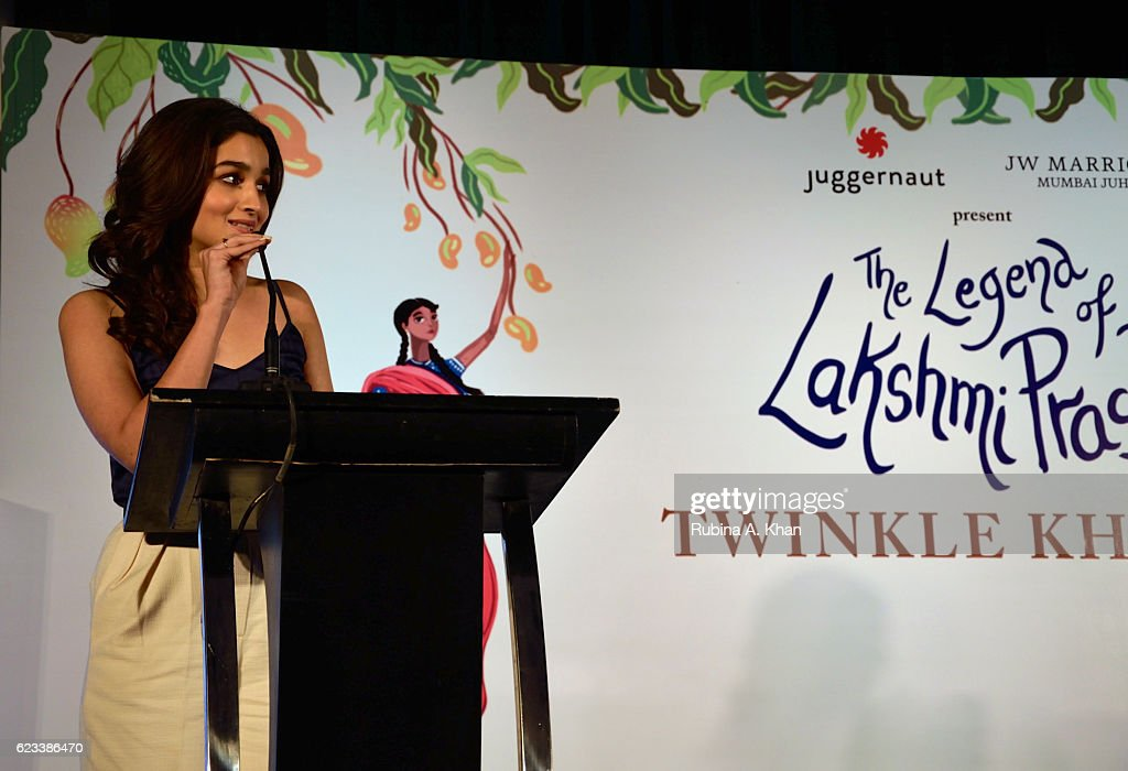 Alia Bhatt reading an excerpt from Twinkle Khanna's second book, The Legend of Lakshmi Prasad, published by Juggernaut Books at the JW Marriott on November 15, 2016 in Mumbai, India.