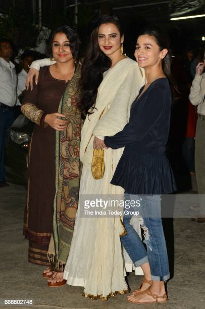 Alia Bhatt Rekha and Vidya Balan at the screening of 'Begum Jaan' in Mumbai