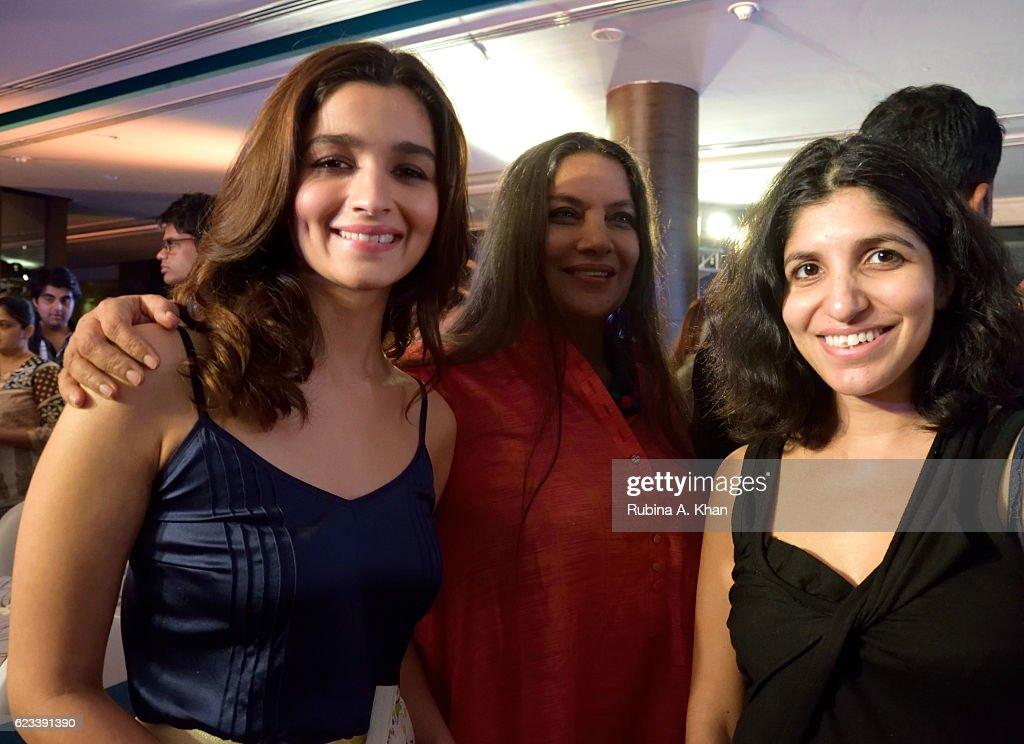 Alia Bhatt, Shabana Azmi and Chiki Sarkar at the launch of Twinkle Khanna's second book, The Legend of Lakshmi Prasad, published by Juggernaut Books, at the JW Marriott on November 15, 2016 in Mumbai, India.