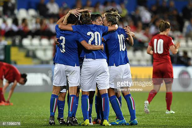 Alia Guagni of Italy celebrates a goal with team mates during the UEFA Women's Euro 2017 Qualifier Group 6 match between Italy and Czech Republic at...