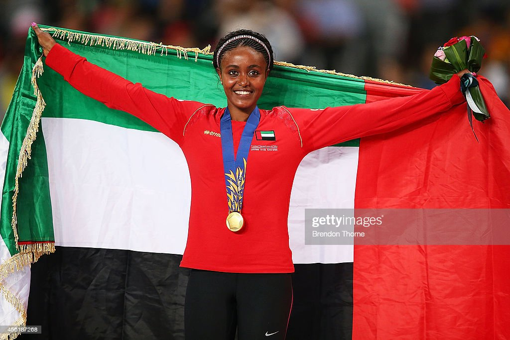 Alia Mohammed Saeed Mohammed of UAE celebrates claiming the Gold medal following the Women's 10,000m Final during day eight of the 2014 Asian Games at Incheon Asiad Main Stadium on September 27, 2014 in Incheon, South Korea.