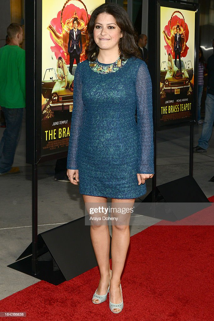 Alia Shawkat arrives at the LA screening of Magnolia Pictures' 'The Brass Teapot' at ArcLight Hollywood on March 21, 2013 in Hollywood, California.