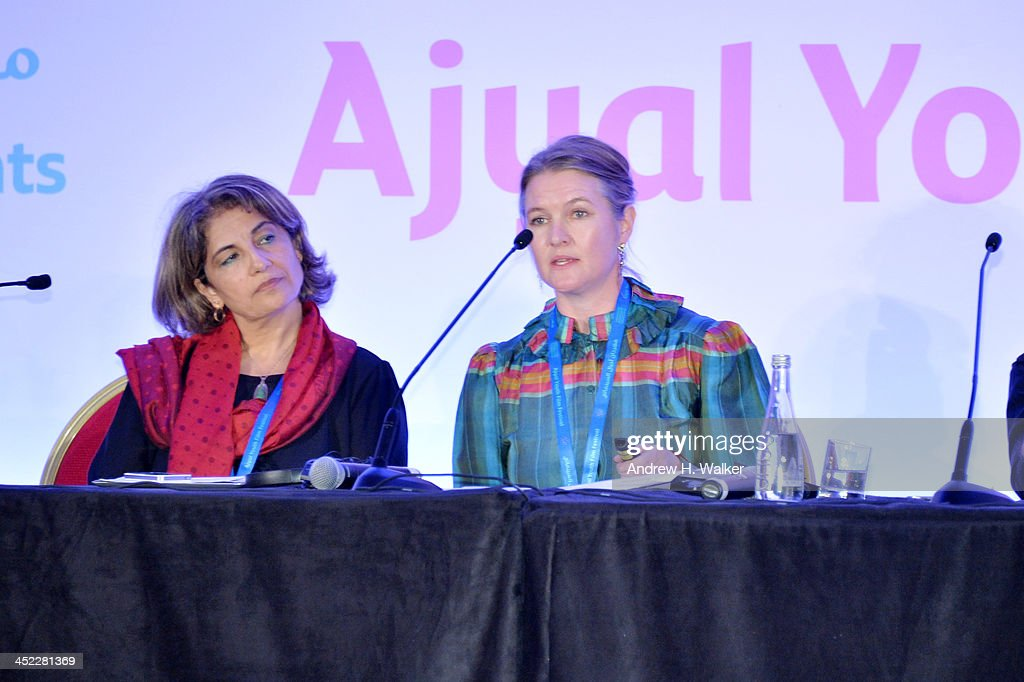 Alia Shmeiss and Annika Olofsdotter attends the panel 'Getting Social with Media. Let the Games begin!' during day 2 of Ajyal Youth Film Festival on November 27, 2013 in Doha, Qatar.