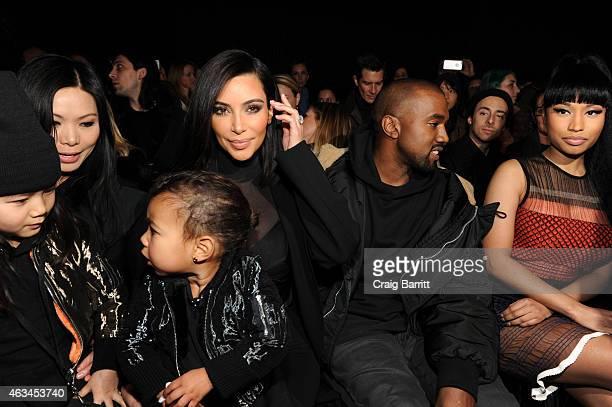 Alia Wang Aimie Wang Kim Kardashian North West Kanye West and Nicki Minaj attend the Alexander Wang Fashion Show during MercedesBenz Fashion Week...