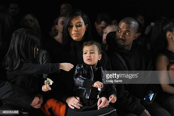 Alia Wang Kim Kardashian North West and Kanye West attend the Alexander Wang Fashion Show during MercedesBenz Fashion Week Fall 2015 at Pier 94 on...