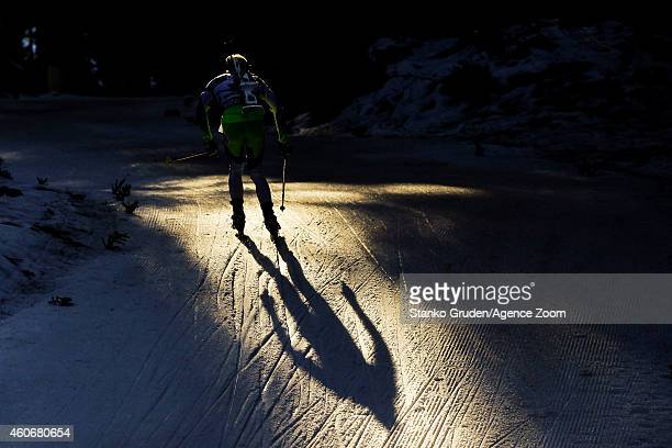 Aliaksandr Darozhka of Belarus competes during the IBU Biathlon World Cup Men's Sprint on December 19 2014 in Pokljuka Slovenia