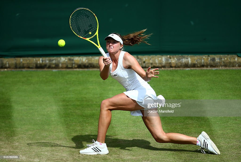 <a gi-track='captionPersonalityLinkClicked' href=/galleries/search?phrase=Aliaksandra+Sasnovich&family=editorial&specificpeople=7071481 ng-click='$event.stopPropagation()'>Aliaksandra Sasnovich</a> of Belarus plays a forehand during the Ladies Singles first round match against Kristina Mladenovic of France on day four of the Wimbledon Lawn Tennis Championships at the All England Lawn Tennis and Croquet Club on June 30, 2016 in London, England.