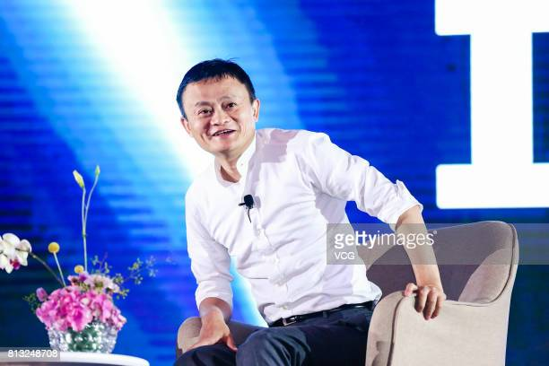 Alibaba CEO Jack Ma makes a speech at 2017 Global Netreprenuer Conference on July 11 2017 in Hangzhou Zhejiang Province of China