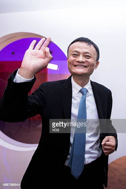 Alibaba Chairman Jack Ma attends interviews at the Water Cube on November 11 2015 in Beijing China The total gross merchandise value on Tmallcom had...