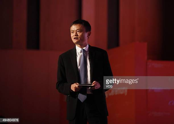 Alibaba chairman Jack Ma attends the Strategic Partnership Signing Ceremony of Alibaba Holland EDay on October 29 2015 in Hangzhou Zhejiang Province...